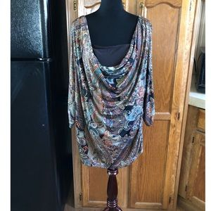 AGB Paisley Drape Neck Top Size 3X